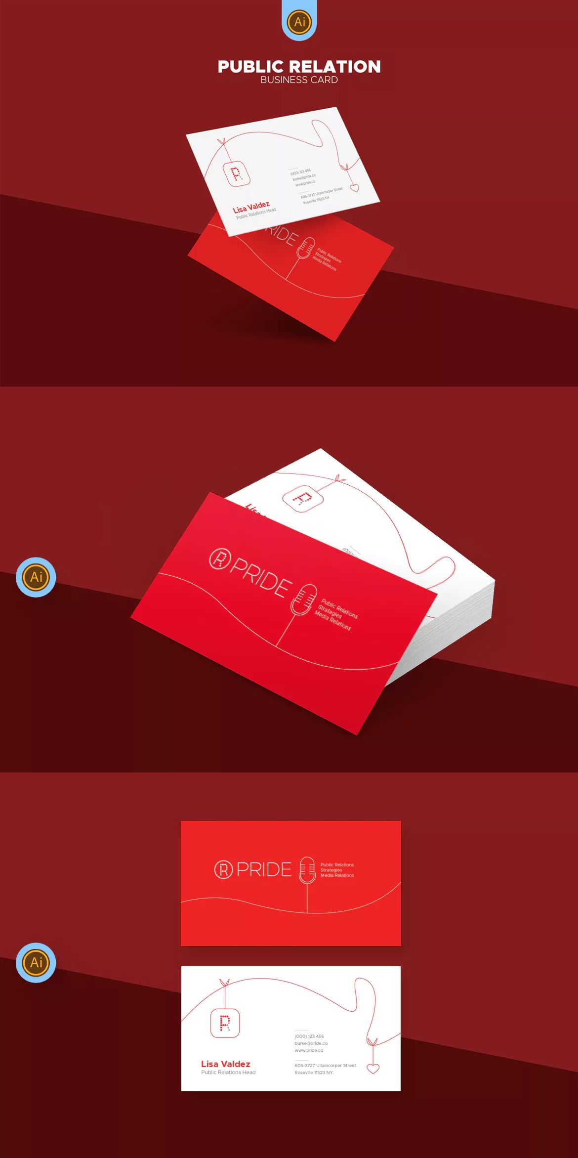Public Relations Business Card Template AI, EPS #unlimiteddownloads ...