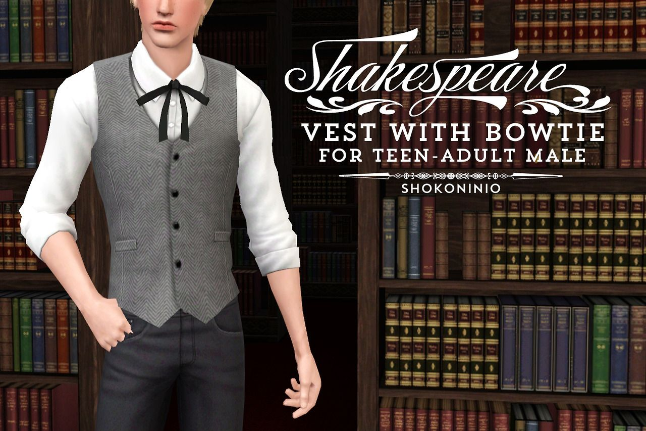 Snazzy vest with bowtie for the Sims 3 by Shokoninio