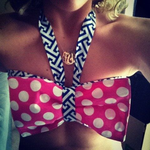 Bikini Sunbathing....Bandeau/Halter/Crop Bow Top..Custom Order