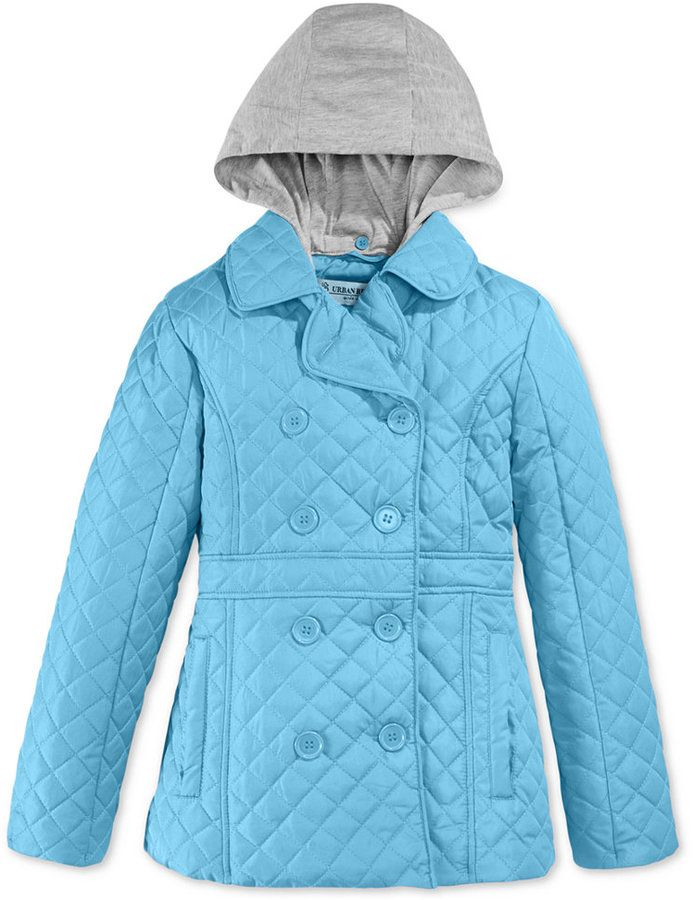 Urban Republic Girls' or Little Girls' Quilted Barn Jacket with Hood