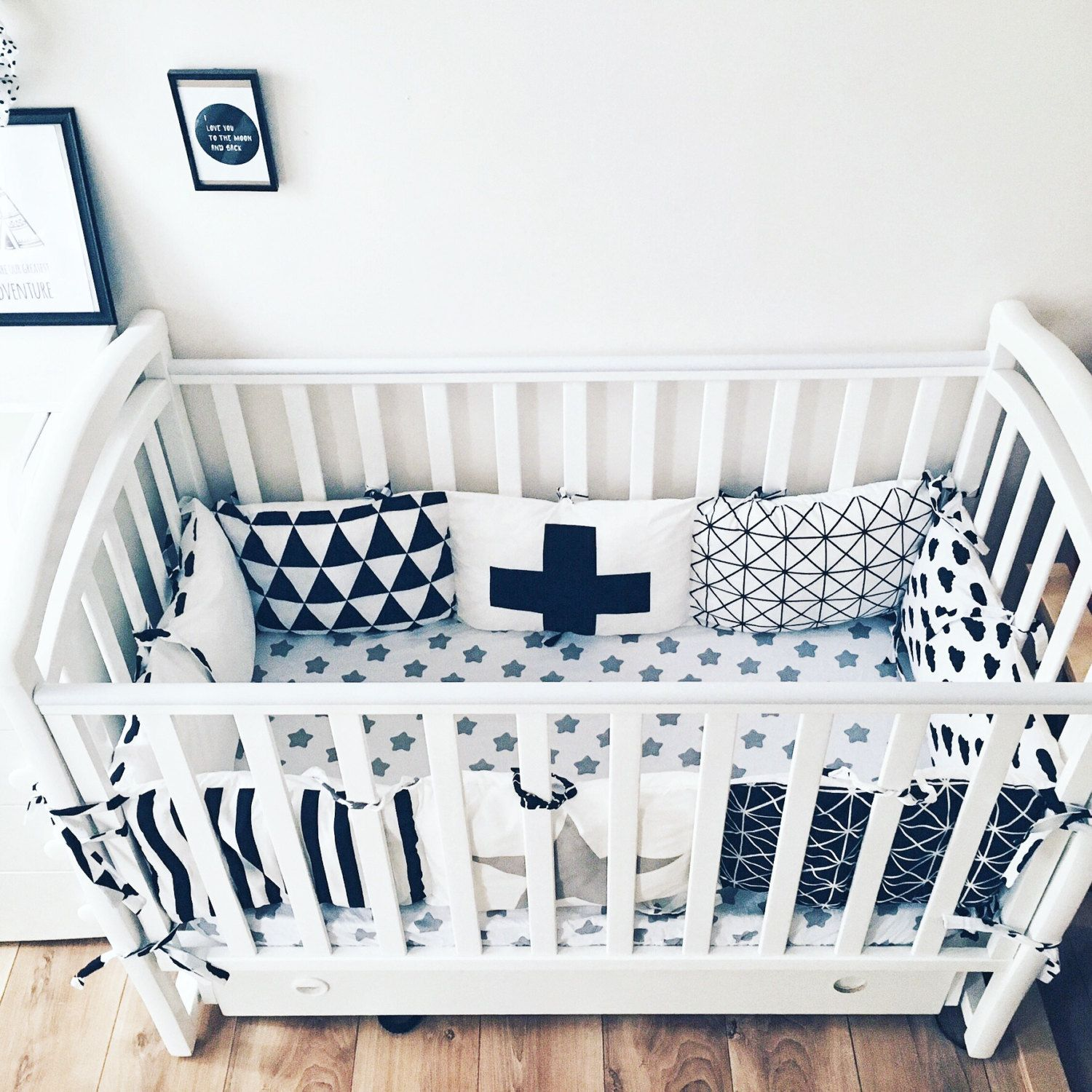 Crib Bumpers - Baby Bedding Bumper - Monochrome Bedding - Handmade ...