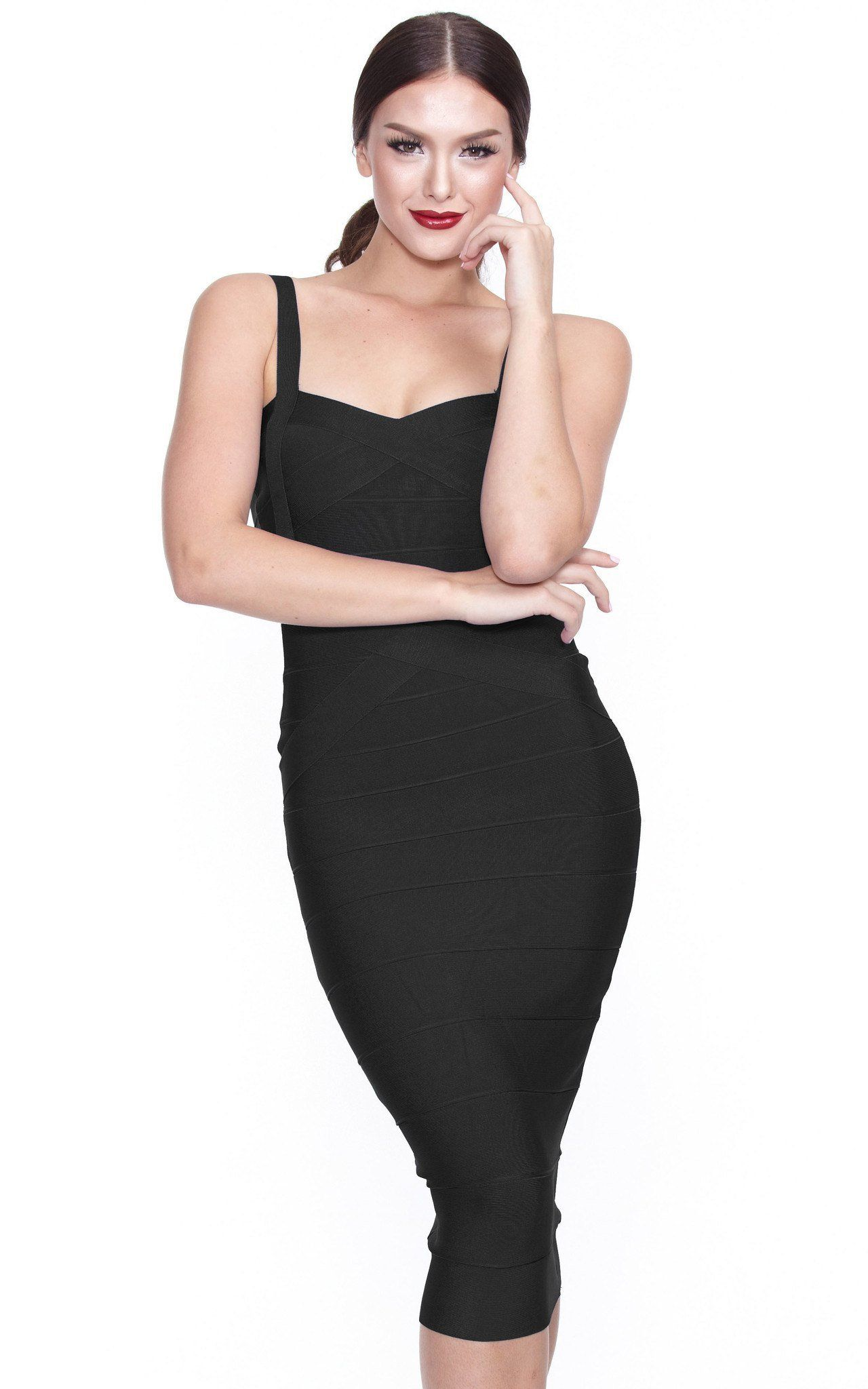 Black bandage spaghetti strap midi dress in midi bandage