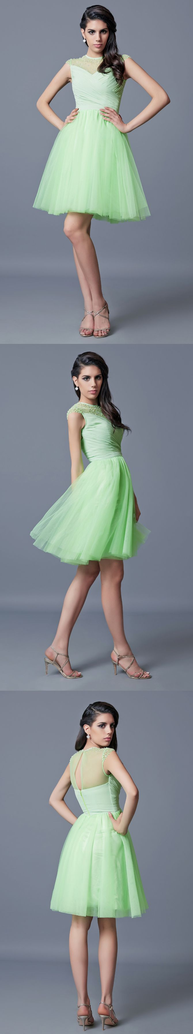 Cap sleeve aline short tulle dress with beading and pleats