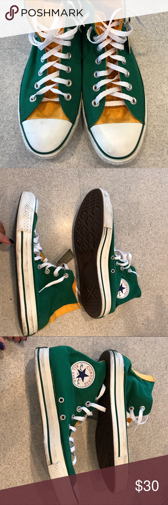 Converse high tops green and gold