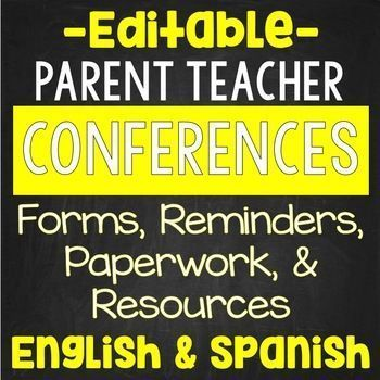Parent Teacher Conferences Editable Forms Notes Reminders