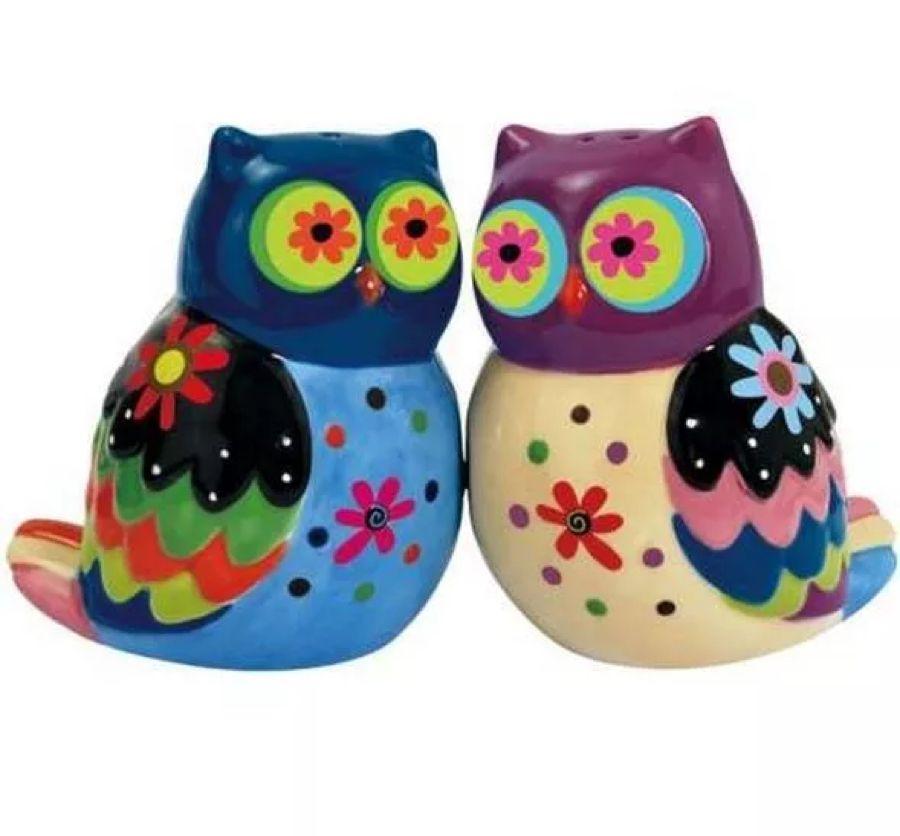Cozy Owls Cermaic Salt Pepper Shaker Set Magnetic Colorful Flowered Birds Mwah Stuffed Peppers Salt Pepper Shakers Owl Kitchen Decor