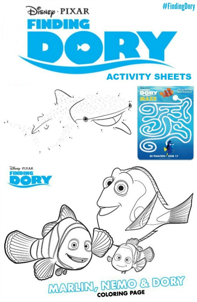 New FINDING DORY Coloring Pages Activity Sheets FindingDory