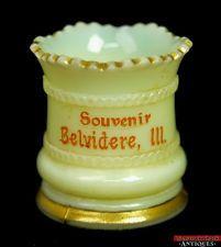 c1900 Heisey Ring Band Custard Glass Belvidere Ill Souvenir Toothpick Holder L6X