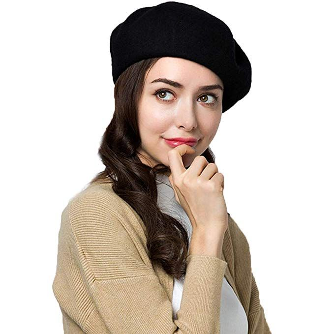 9b8d643a01fad Exlura 95% Wool Beret Artist Hat French Hat Casual Solid Color Winter Hat  for Women
