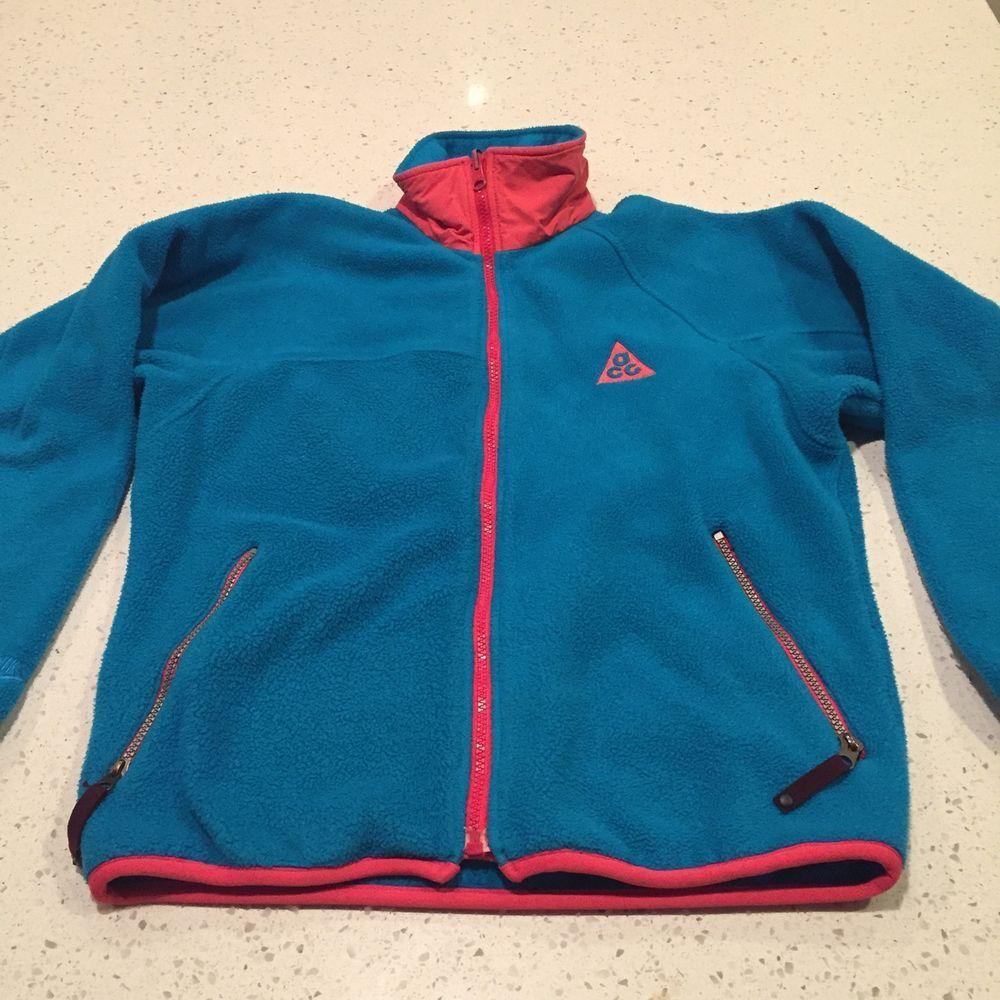 5c13a82fcb49d Vintage 90s Nike ACG Fleece Windbreaker Jacket Size Small Full Zip ...
