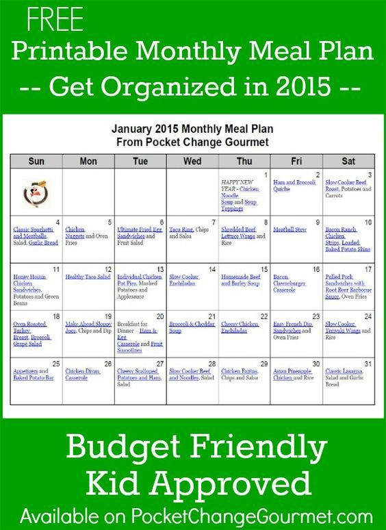 Save Time In The Kitchen With This Free Printable January Monthly