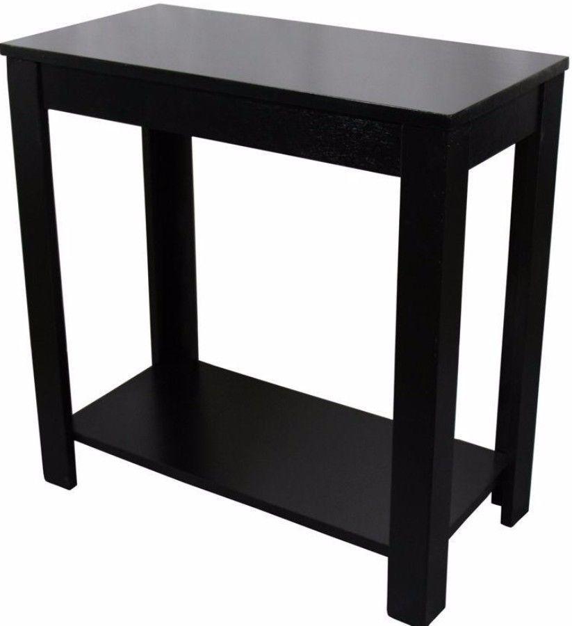 Black Side Table With Shelf Rectangular Modern Living Room Furniture