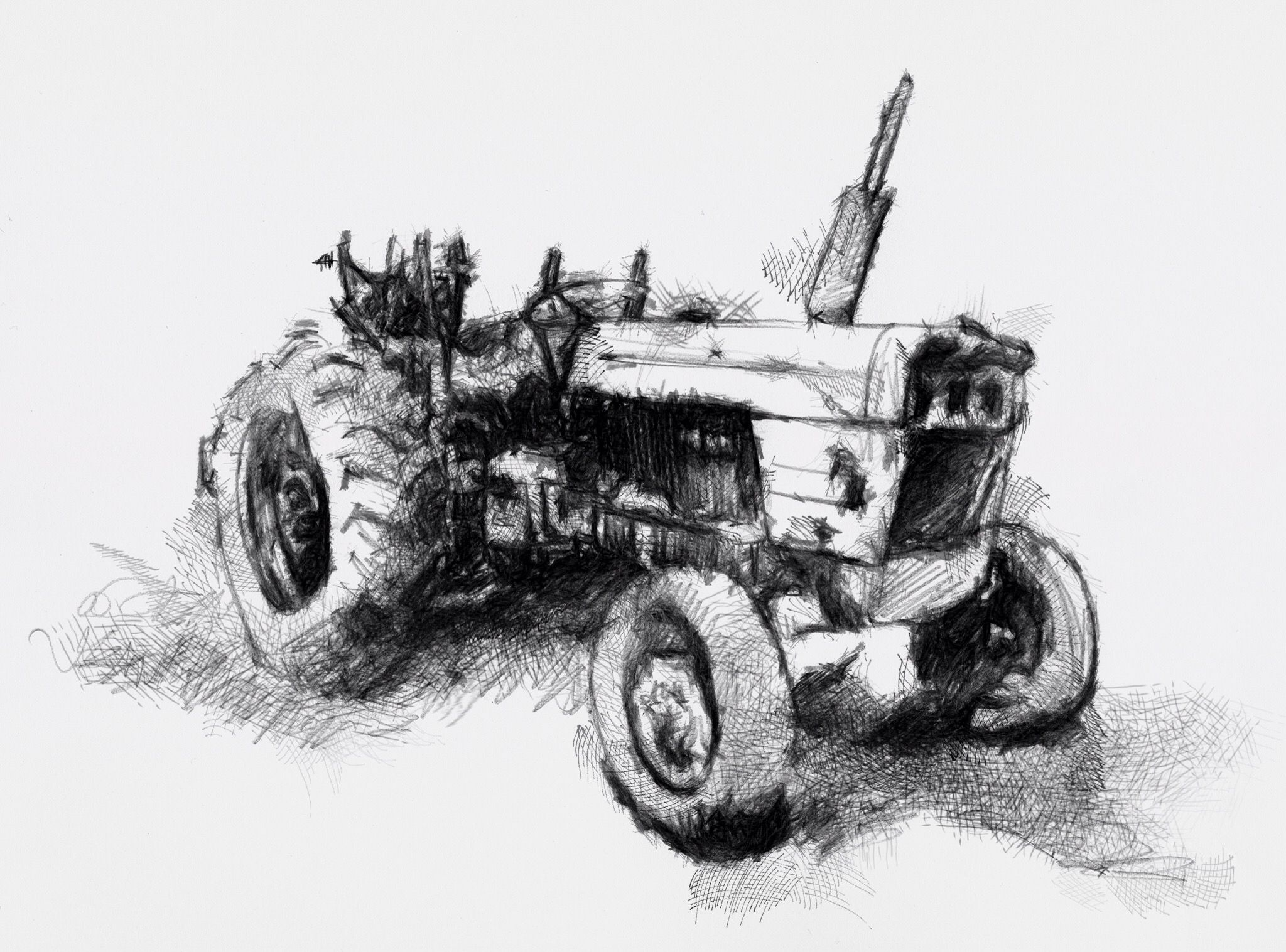 one of my sketch a day drawings old tractor art drawing