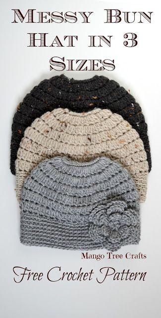 Messy Bun Hat Free Crochet Pattern in 3 Sizes (Mango Tree Crafts ...
