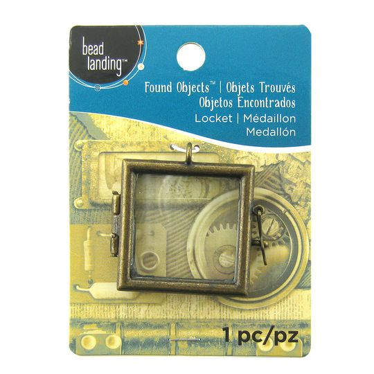 Found Objects Antique Gold Square Frame Locket By Bead Landing Antique Gold Beads Antiques