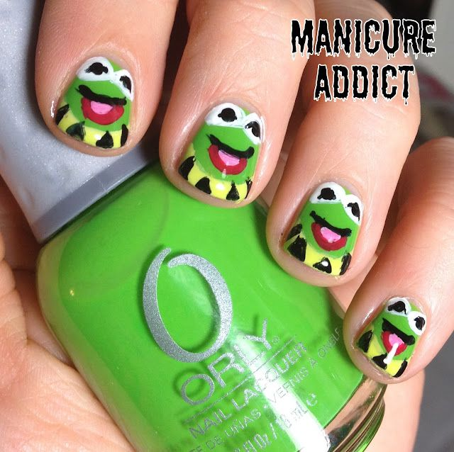 Frog Nail Art: Kermit The Frog Nail Art