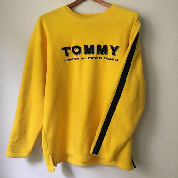 Vintage 90s Tommy Hilfiger Denim 'Tommy' Spell Out Yellow