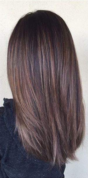 Cool tone dark brunette balayage highlights , straight
