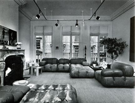 Fur throw and modular 70s furniture in New York Brownstone