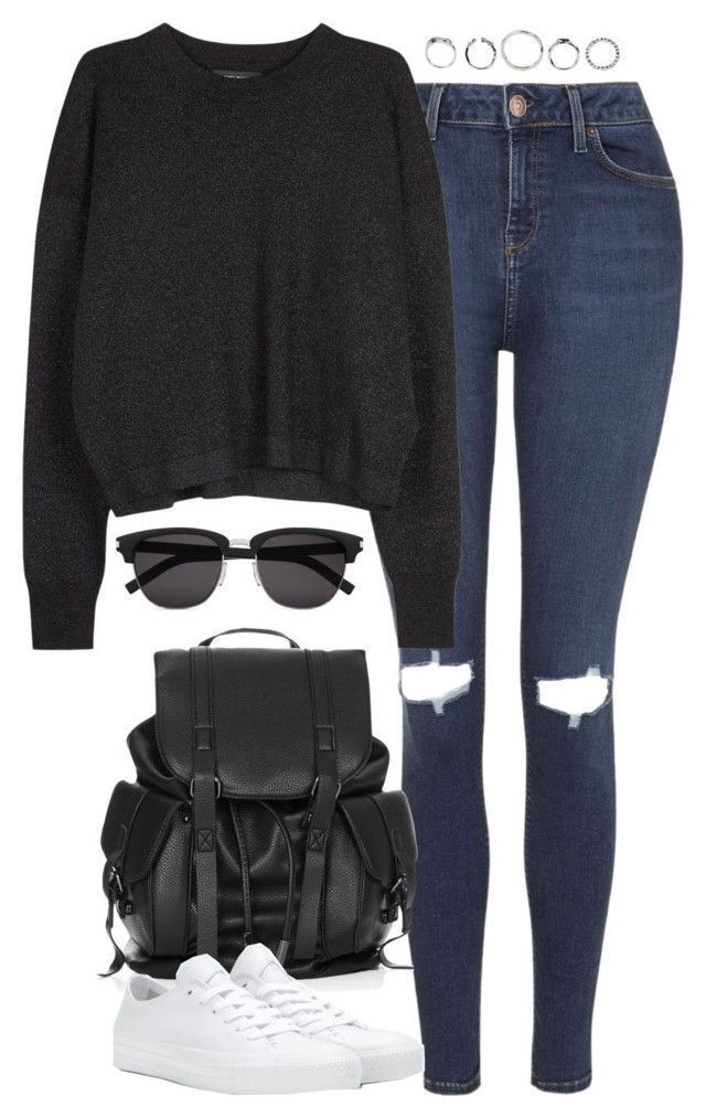 Untitled 4913  ❤ liked on Polyvore featuring Topshop, Isabel Marant, Converse and Yves Saint Laurent casualfalloutfits is part of Cute outfits -
