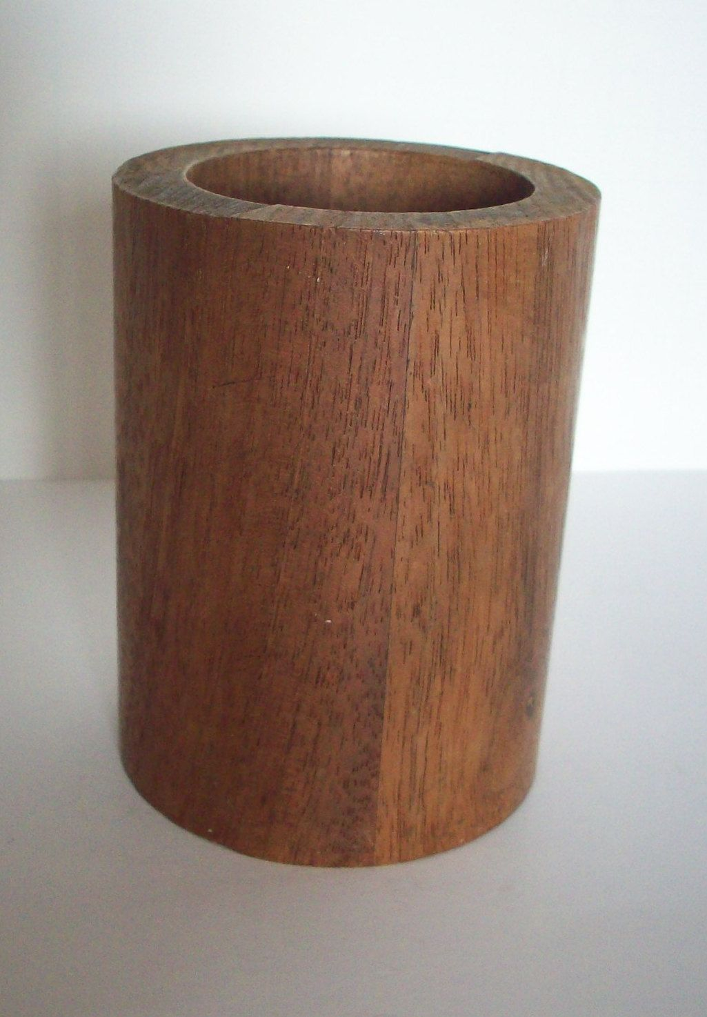 Pen Cup Holder Vintage Pencil Holder Wood Pencil Pen Cup Mahogany Pencil