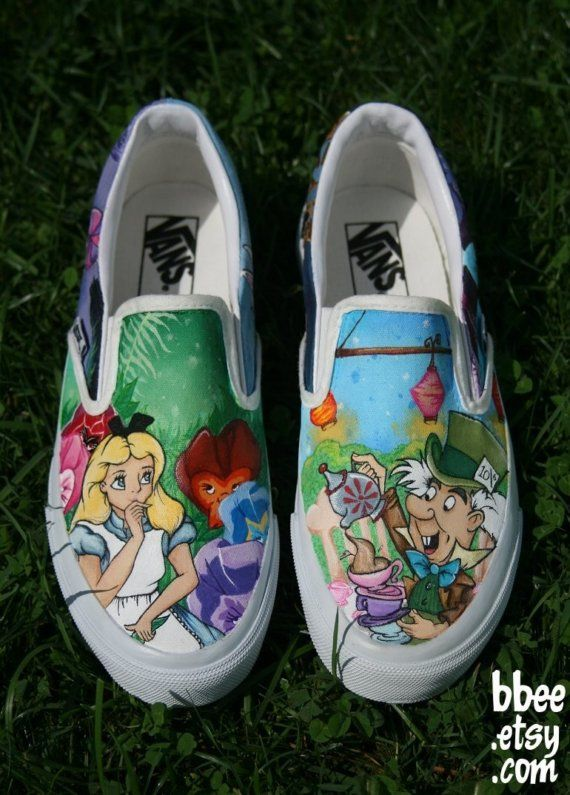 99598ebce2732d Alice In Wonderland hand painted shoes Vans size 7