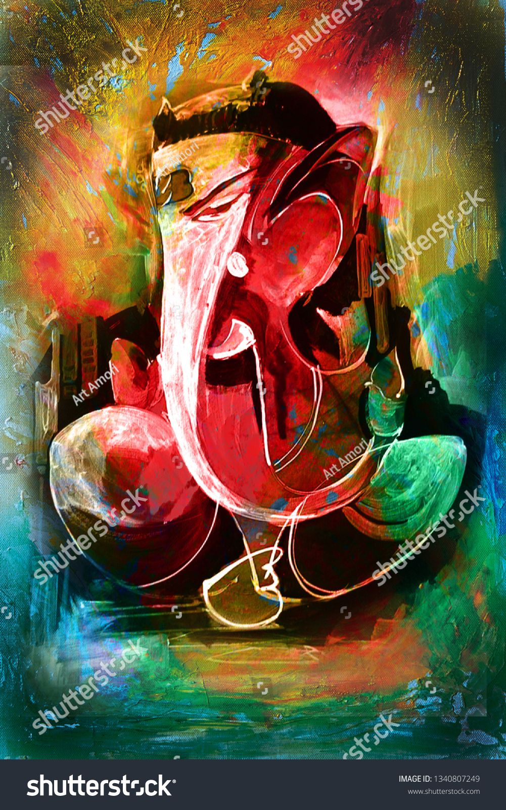 Hindu Lord Ganesha Abstract Texture Background Canvas Oil Painting