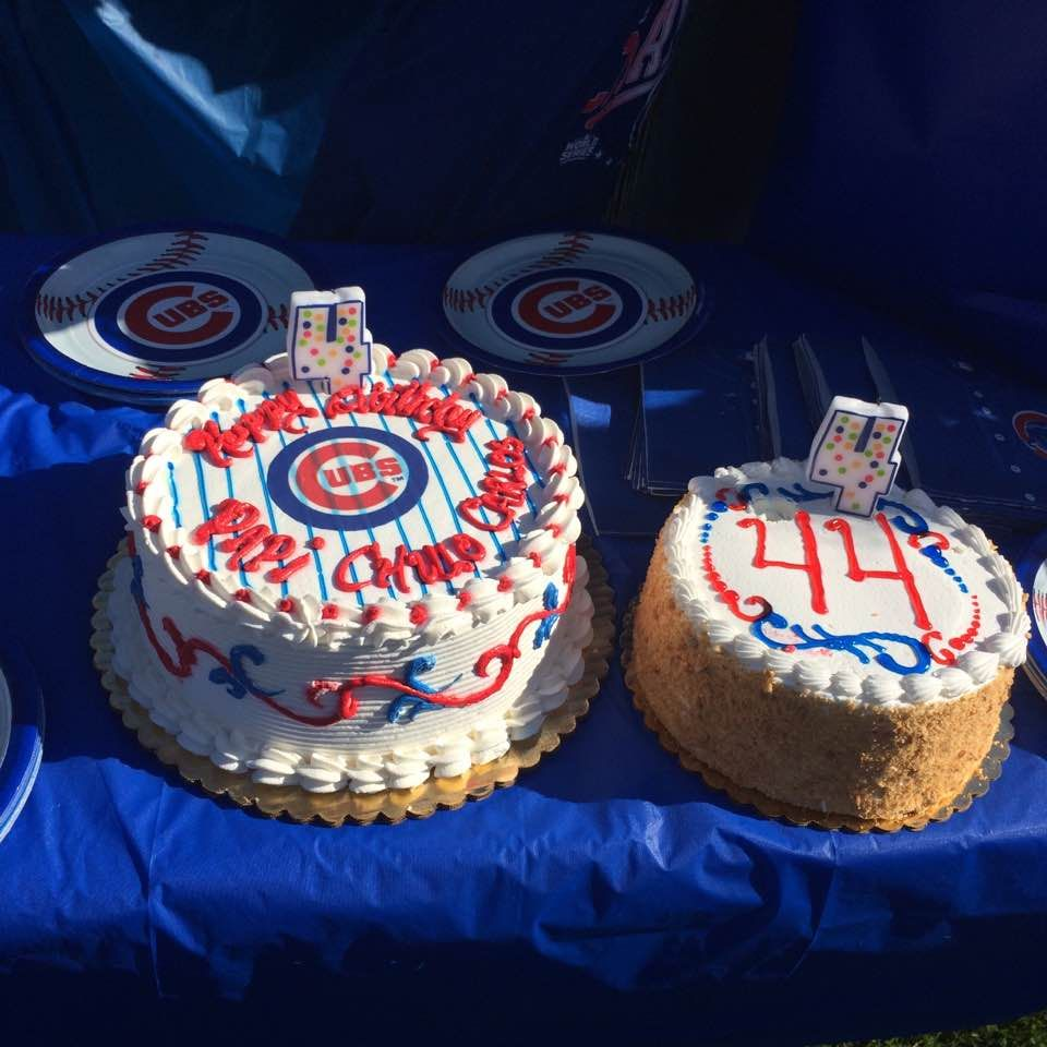 Chicago cubs cake swirls and edible print on cake