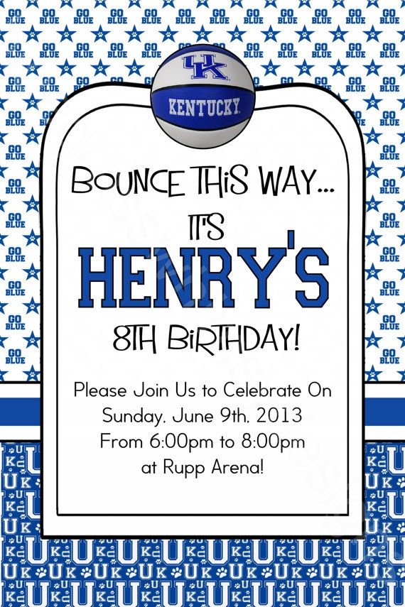 University of Kentucky UK Wildcats Birthday Party BlueWhite – Childrens Party Invites Uk