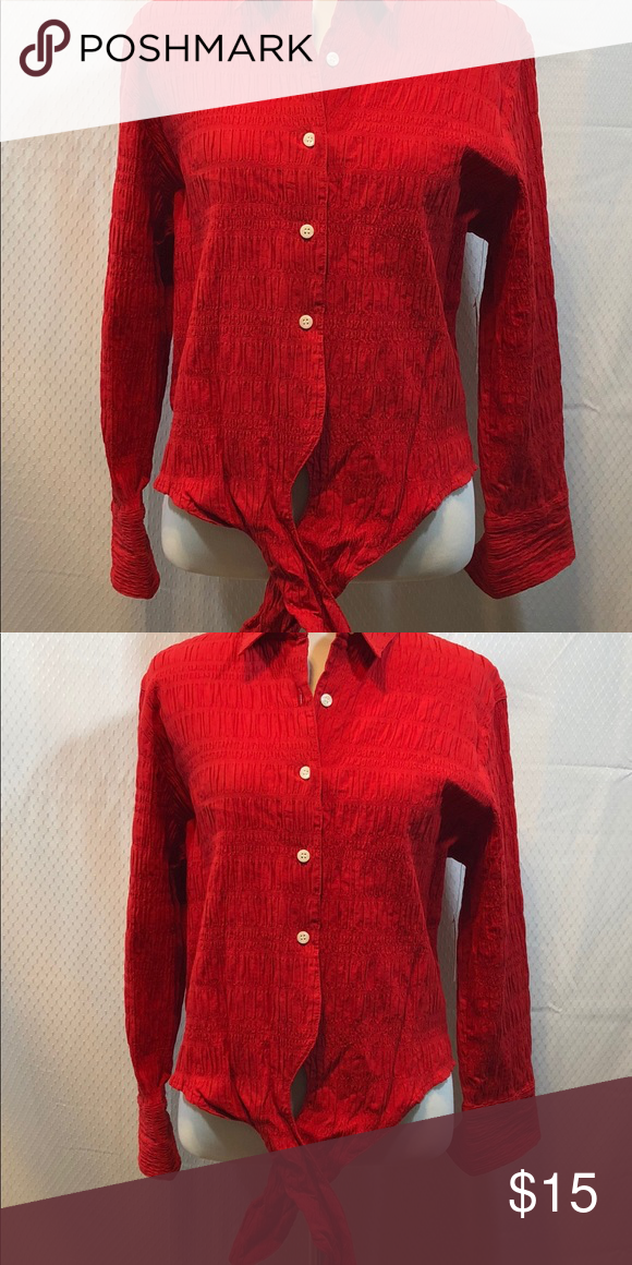 """210f190e75c St Johns Bay red shirt M St Johns Bay red button up shirt in M with tie  front. 99% cotton 1% spandex 20"""" arm to arm 20"""" L stretch fit NWT St. ..."""