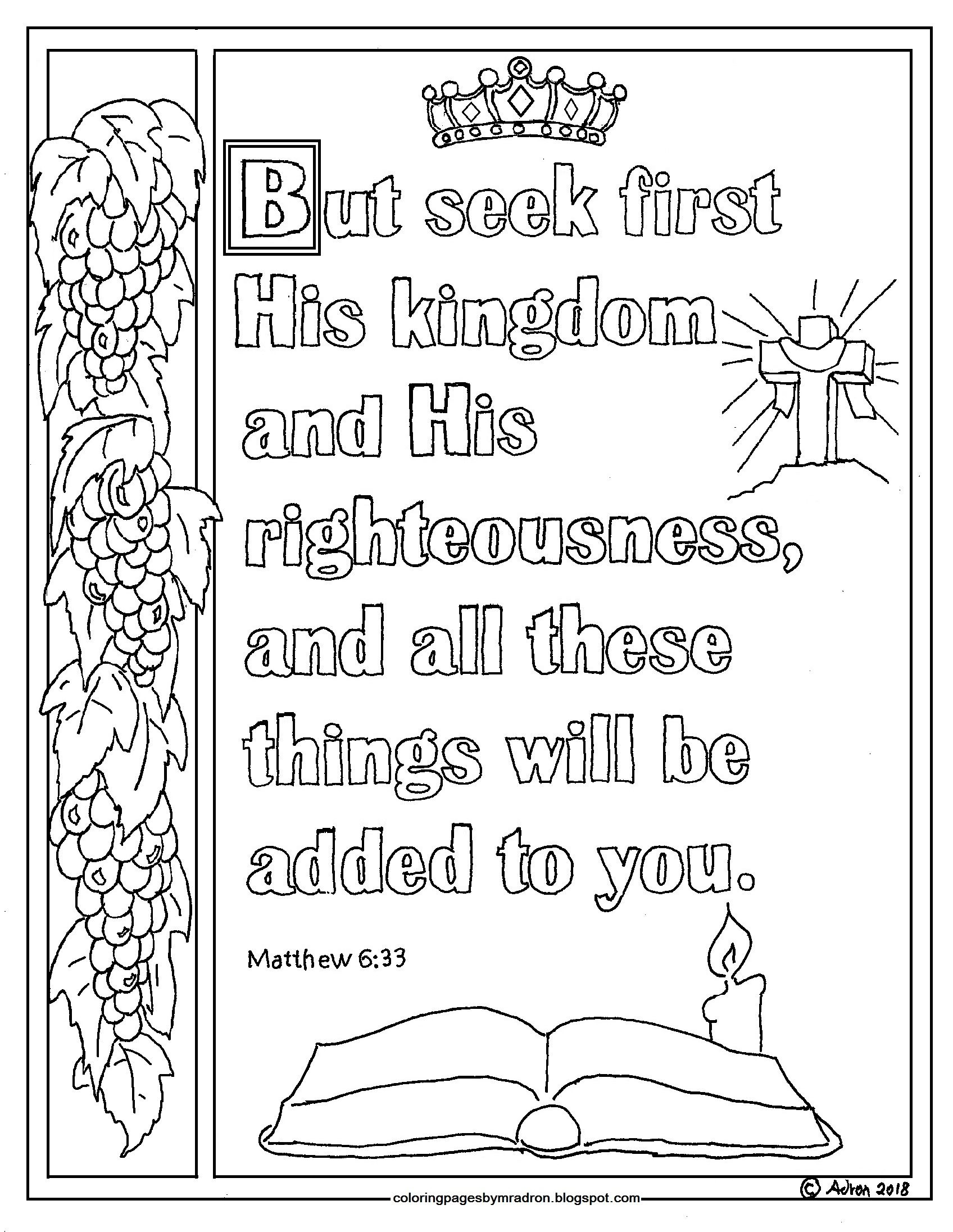 Printable Matthew 6 33 Coloring Page Seek First His Kingdom