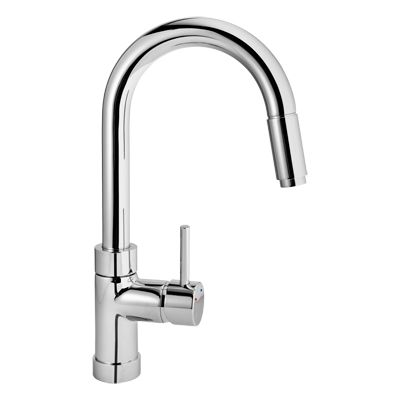 Raymor Torino Sink Mixer, With Gooseneck Spout And Pull Out Spray Head