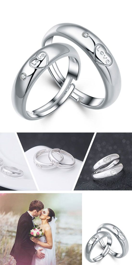 Romantic Lover Silver Ring Zircon Adjustable Size Couple Open Ring ...