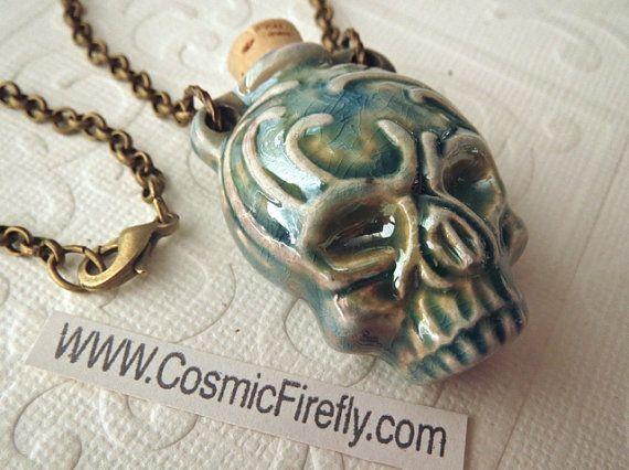 Tribal Skull Necklace Rustic Blue Raku Ceramic Bottle Necklace Antiqued Brass Rolo Chain Boy's Necklace Men's Steampunk Necklace Rustic New