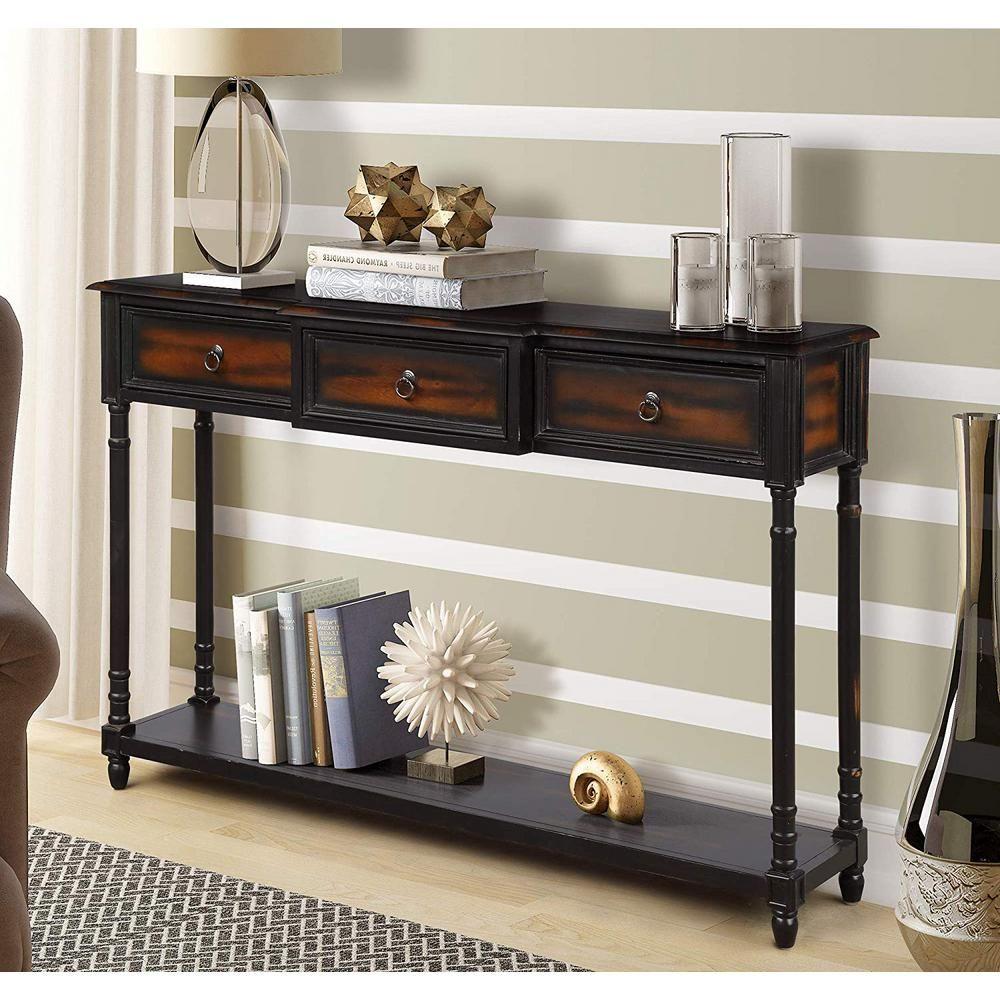 Harper Bright Designs Espresso Luxurious Console Table With 3