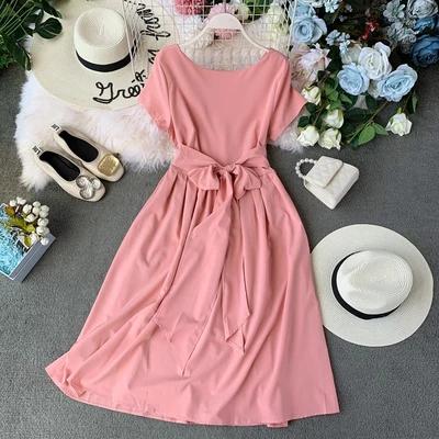 Small Fresh Solid Color Chic Long Runway Temperament Back Bowknot Loose Dress 1