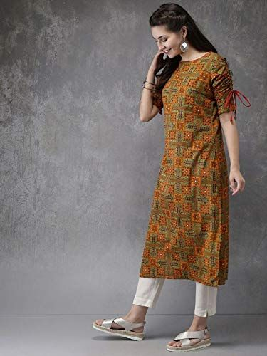 A1 #Fashion Reyon Discharge Print Kurti with Cotto