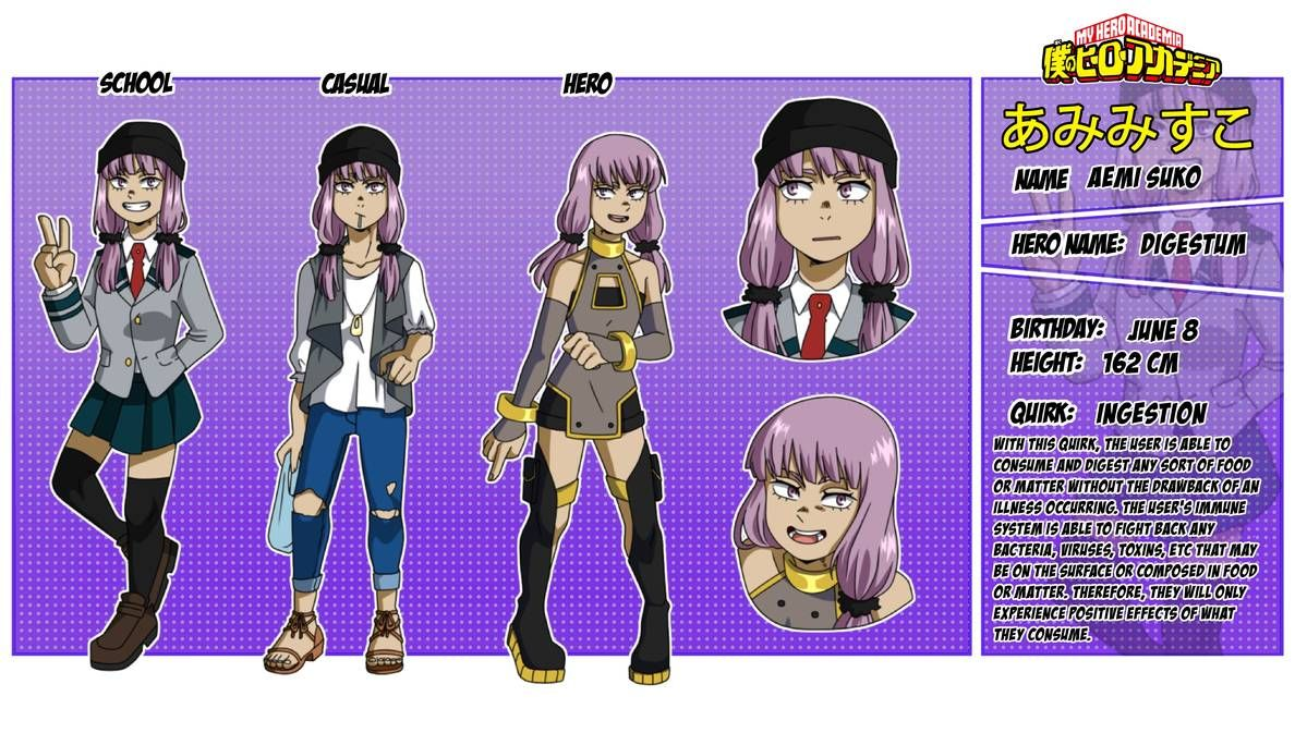 Bnha Oc Reference Sheet Aemi Suko By Ani Baka On Deviantart In 2020 Zombie Girl My Hero Need Friends