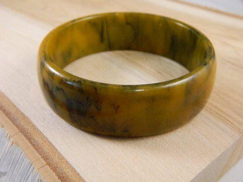 0d2c09b3d8f Vintage Bakelite Bangle Bracelet, Tan and Black Marbled Bakelite Bangle,  Vintage 1960s Bangle, Chunky Wide Bakelite Bracelet, Large Bangle by ...