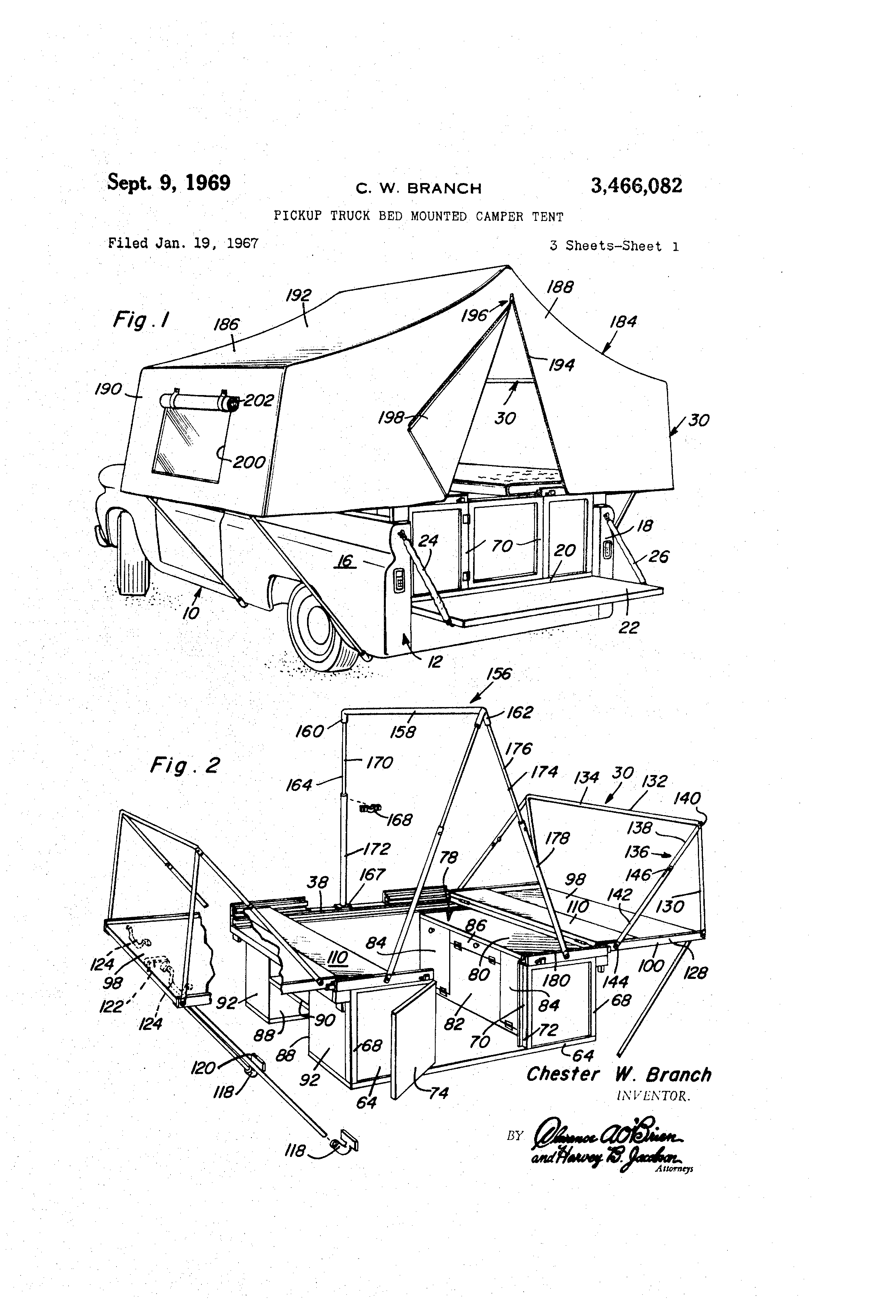Patent US3466082 - Pickup truck bed mounted camper tent - Google Patenter