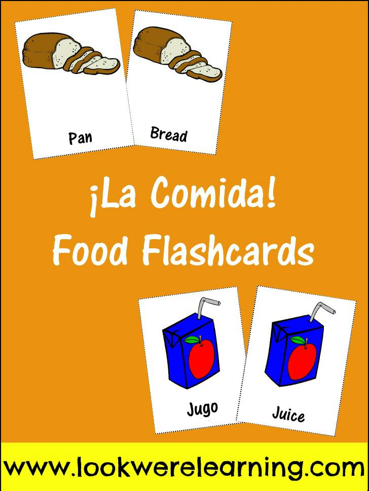 photograph relating to Spanish to English Flashcards With Pictures Printable called Totally free Printable Spanish Meals Flashcards Child Blogger Community