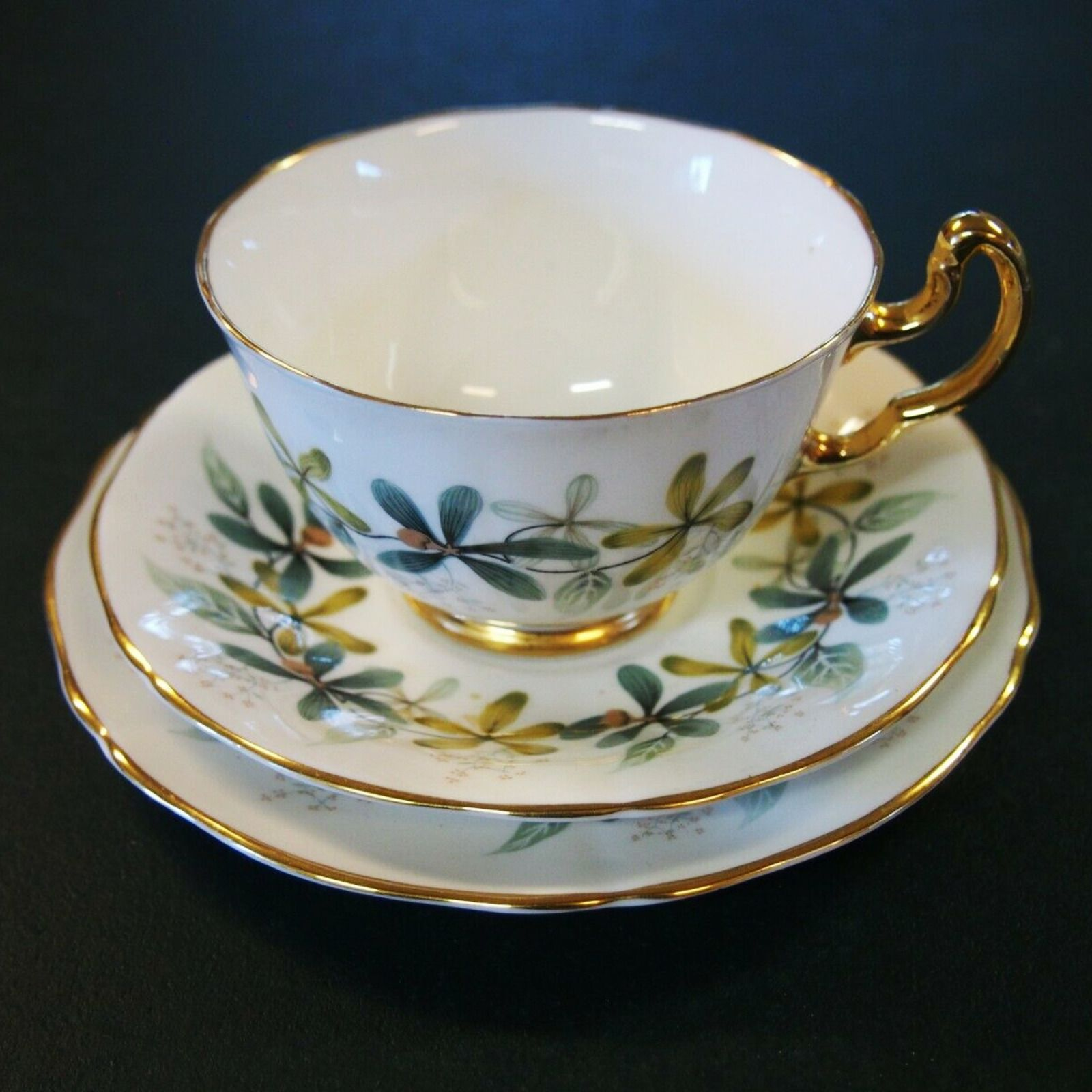 Vintage CHINESE Dishware Lot Coffee Cup Saucers Bread Plate
