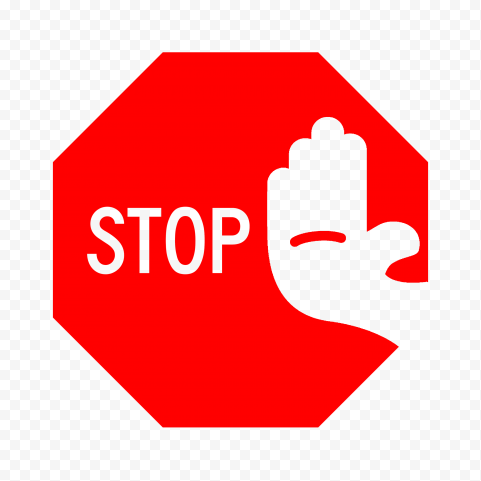 Hd Outline Stop Word Outline Hand On Red Stop Sign Png Stop Words Stop Sign Outline