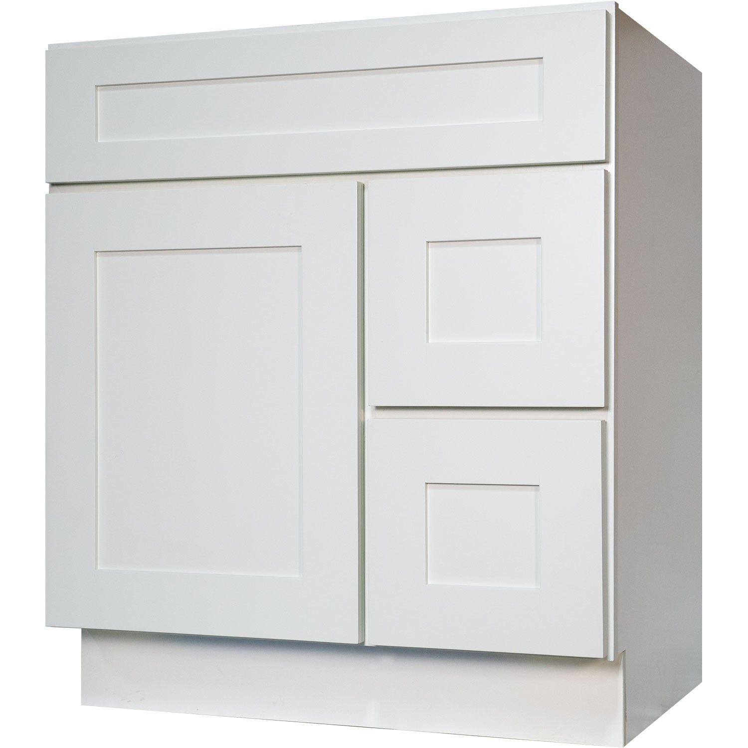 30 Inch bathroom vanity cabinet in solid wood Shaker White ...