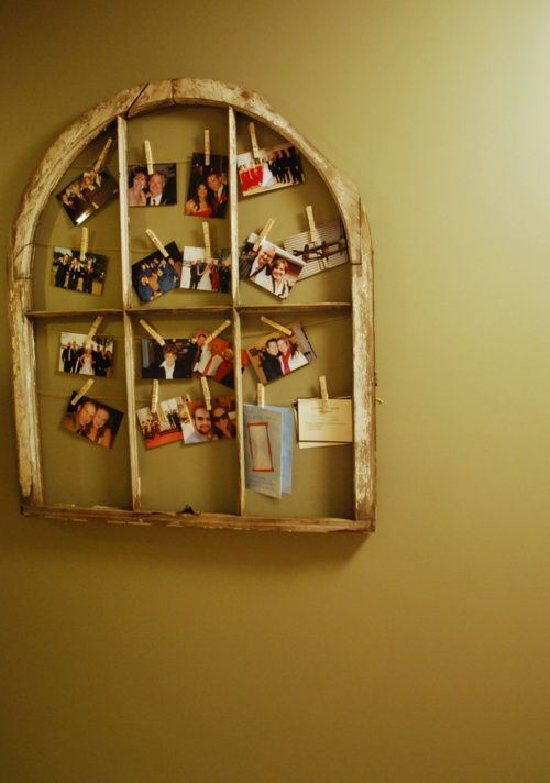Repurpose: Wooden window as a picture frame | Wall units | Pinterest ...