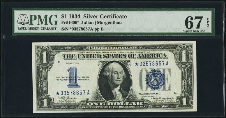 Small Sizesilver Certificates Fr 1606 1 1934 Silver Certificate