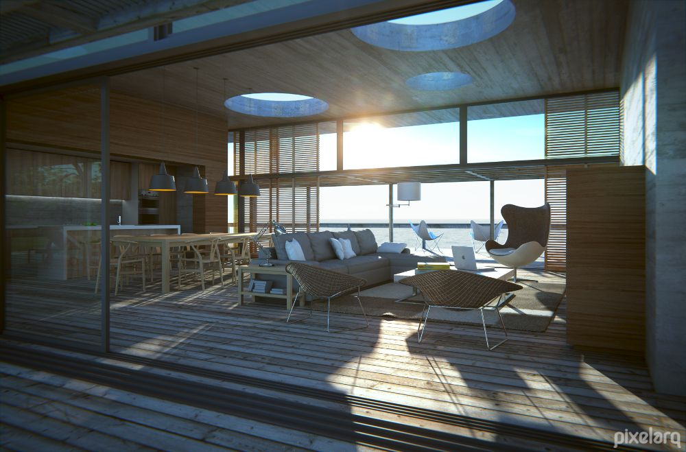 Pool House Beach Interior 1 Using Blender Rendered By