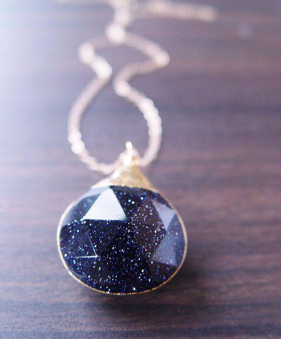 Midnight Goldstone Star Necklace Cosmos Jewelry | Etsy