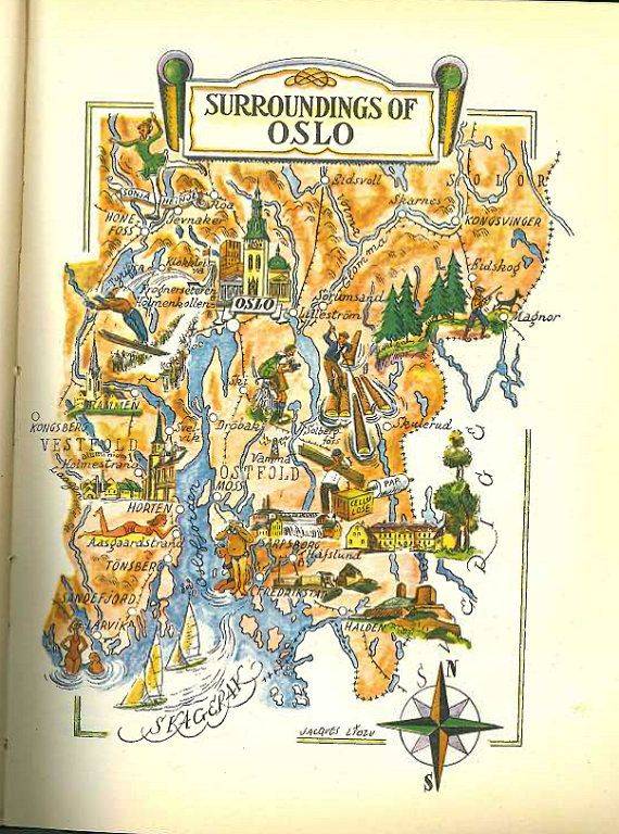 Colorful map of oslo norway vintage map illustration jacques colorful map of oslo norway vintage map illustration jacques liozu oslo map sciox Gallery