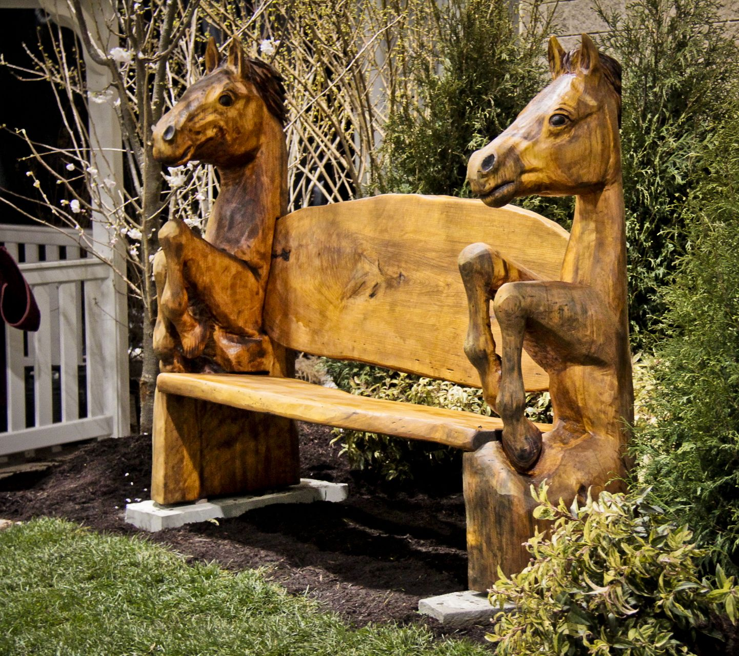 Carved horse bench wood carving and